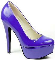 Royal Blue Patent High Heel Round Toe Platform Stiletto Pump Qupid Penelope-01