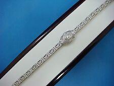 "18K WHITE GOLD ANTIQUE ART-DECO 0.45 CT DIAMONDS FILIGREE BRACELET, 6.25"" LONG"