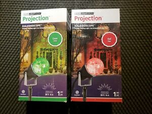 (2) Christmas Decorations Outdoor Projector Lights Red/Green gemmy Kaleidoscope