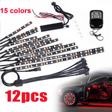 12pc Motorcycle Led Under Glow Light Kit Multi-Color Neon Strip+Remote Control