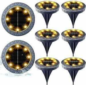 8 Packs of Solar In-Ground Lights, Waterproof Solar Garden Lights, Disk Lights