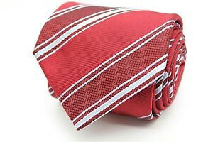 Hugo Boss Herren Krawatte 148cm 100% Seide Rot Weiß Gestreift #419