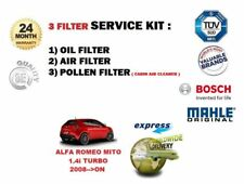 FOR ALFA ROMEO MITO 1.4i TURBO 2008-->ON OIL AIR POLLEN 3 FILTER SET SERVICE KIT