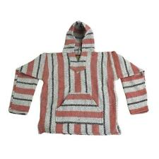 Baja Joe Striped Woven Eco-Friendly Pullover Mexican Hoodie Pink New with Tag