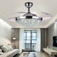 42'' Chandelier Ceiling Fan Light 4 Invisible Blade Crystal LED + Remote Control