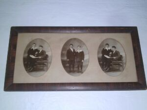 Antique Empire Revival Faux Grain Painted Wood Picture Frame Photos of Brothers