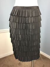 Doncaster SILK Black Tiered Layer Skirt S 6 Cocktail Formal Excellent straight
