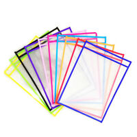 10x Reusable Dry Erase Pockets Write Drawing Board Wipe File Storage Bags R1BO