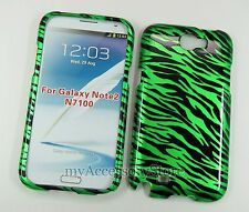Samsung Galaxy Note 2 II Green Zebra Slim Hard Shell Protector Phone Case Cover