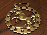 HORSE BRASS VINTAGE STAMPED REARING HORSE LARGE 9X11 CM