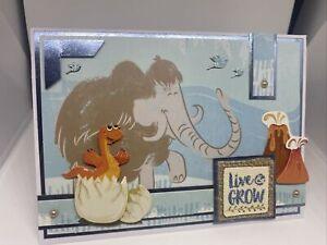 Handmade greeting Card Dinosaur Days Live And Grow Dino Egg Volcano Birds