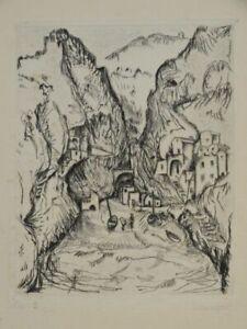 Felsige Bucht mit Booten - W. Limgeur - signierte Radierung Auflage 30 - 1929