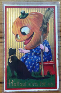 Antique HALLOWEEN Postcard Broom Black Cat Jack O' Lantern (#1271)