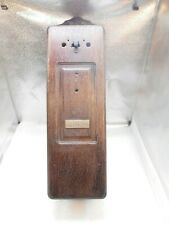 Antique oak wall telephone box by North Electric