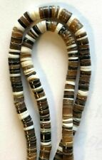 """24"""" Strand Genuine Heshi Shell Assorted Color Disc Beads - 5.5mm Round - Vintage"""
