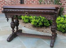 Antique French Oak Desk Victorian Renaissance Dolphin Table Bureau Plat Library