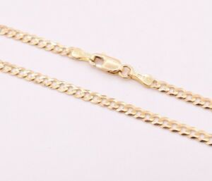 High Polish Cuban Curb Chain Anklet 14k Solid Yellow Gold 10""