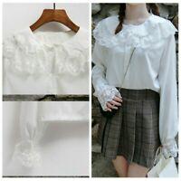 Lady Girl Sweet Lolita Shirt Top Lace Chiffon Peter Pan Collar White Blouse Soft