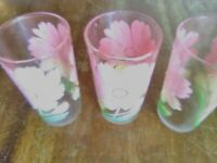 3 vintage Boscul Peanut Butter Glasses, 5 inches tall, Pink dogwood, no chips or
