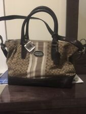 COACH LEGACY SIGNATURE STRIPE 21154 MOLLY SATCHEL PURSE Khaki Mahogany SV New