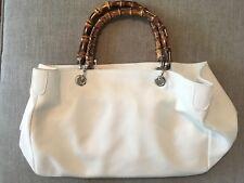 NEW Mark & and Graham BAMBOO ELISABETTA SLOUCH Leather Purse Handbag WHITE