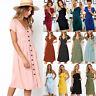 UK Womens Casual Pocket Summer Ladies Short Sleeve Evening Party Midi Dress 6-16