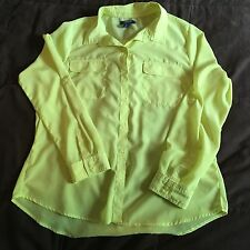 Old Navy Button Up Shirt Lime Green Blouse Pocket Bright Day Glow Size L
