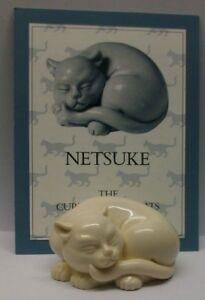 A FRANKLIN MINT CURIO CABINET CAT COLLECTION FIGURINE THE -NETSUKE- + CERTIFIFIC