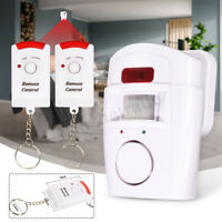 Wireless Pir Motion Sensor Chime Alarm w/ 2 Remote Controls Home Garage Caravan