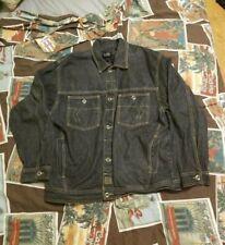 Vintage Karl Kani Denim Trucker Jean Jacket Size L Coat Black 90s Hip Hop Rap