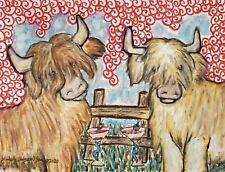Miniature SCOTTISH HIGHLAND CATTLE Drinking Martinis Pop Art Print 8x10 Cow Farm
