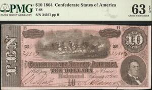 34567 LADDER UNC 1864 $10 CONFEDERATE STATES CURRENCY CIVIL WAR NOTE PMG 63 EPQ