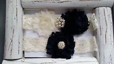 Wedding Garter, Ivory/Navy Flower Garter Set, Ivory Lace,Keepsake & Toss Garter