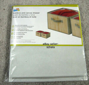 Honey-Can-Do set of 2 collapsible canvas fabric storage drawers bamboo front NEW