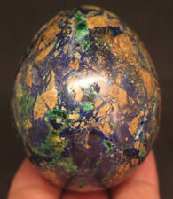 6.2OZ Natural Azurite with Malachite Crystal Carving Egg
