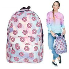 Holo Donuts Women Backpack Girls Holographic Travel Backpacks School Bag Laptop