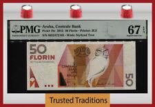 TT PK 18c 2012 ARUBA CENTRALE BANK 50 FLORIN OWL PMG 67 EPQ SUPERB GEM UNC!