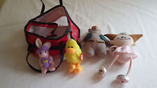 Lot of 4 Toys Stuffed Animals with Little Red Carry Pouch Case Fairy Duck Bear