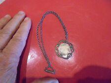 Art nouveau Ancienne Chaîne & sa Médaille à orner de votre photo médaille émail