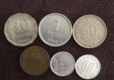 Assorted Coins 1962 Peso 1954 Argentina Yugoslavia 1984 Peso 1953 Peseta