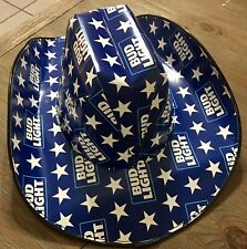 """🍺2021 Patriotic """"BUD LIGHT"""" Cowboy Cowgirl HAT Beer Box OSFM  AnheuserBusch NEW"""