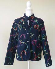 Koret Petite Women's Coat abstract embroidered long sleeve Sz PM denim Jacket