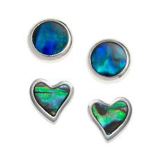Heart Stud Earrings Paua Abalone Blue Shell Silver Fashion Jewellery 8mm