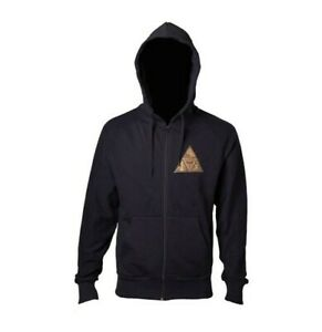Legend Of Zelda Black Zipper Hoodie w/Golden Triforce Logo Full Length
