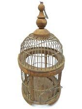 Vintage Wood Custom Small Rounded Globe Style Single Bird Cage Decorative Used