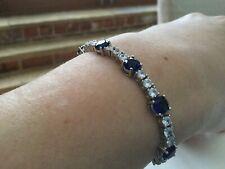 Simulated Gemstone Friendship Slider Bracelet Sapphire / Diamond
