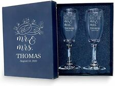 Set of 2 Personalized Wedding Champagne Glass with box-Bride & Groom Flutes Cute