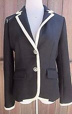 J. Crew Coat Jacket Black White Trim Wool  Size 10