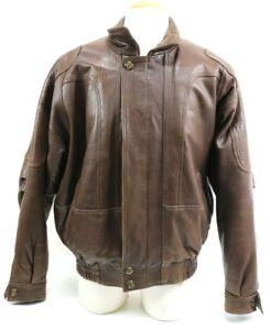 Pierre Cardin Men's Leather Bomber Jacket Size XL Brown