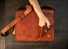 Womens Handmade Vintage Leather Messenger Laptop Bag Briefcase Crossbody Satchel